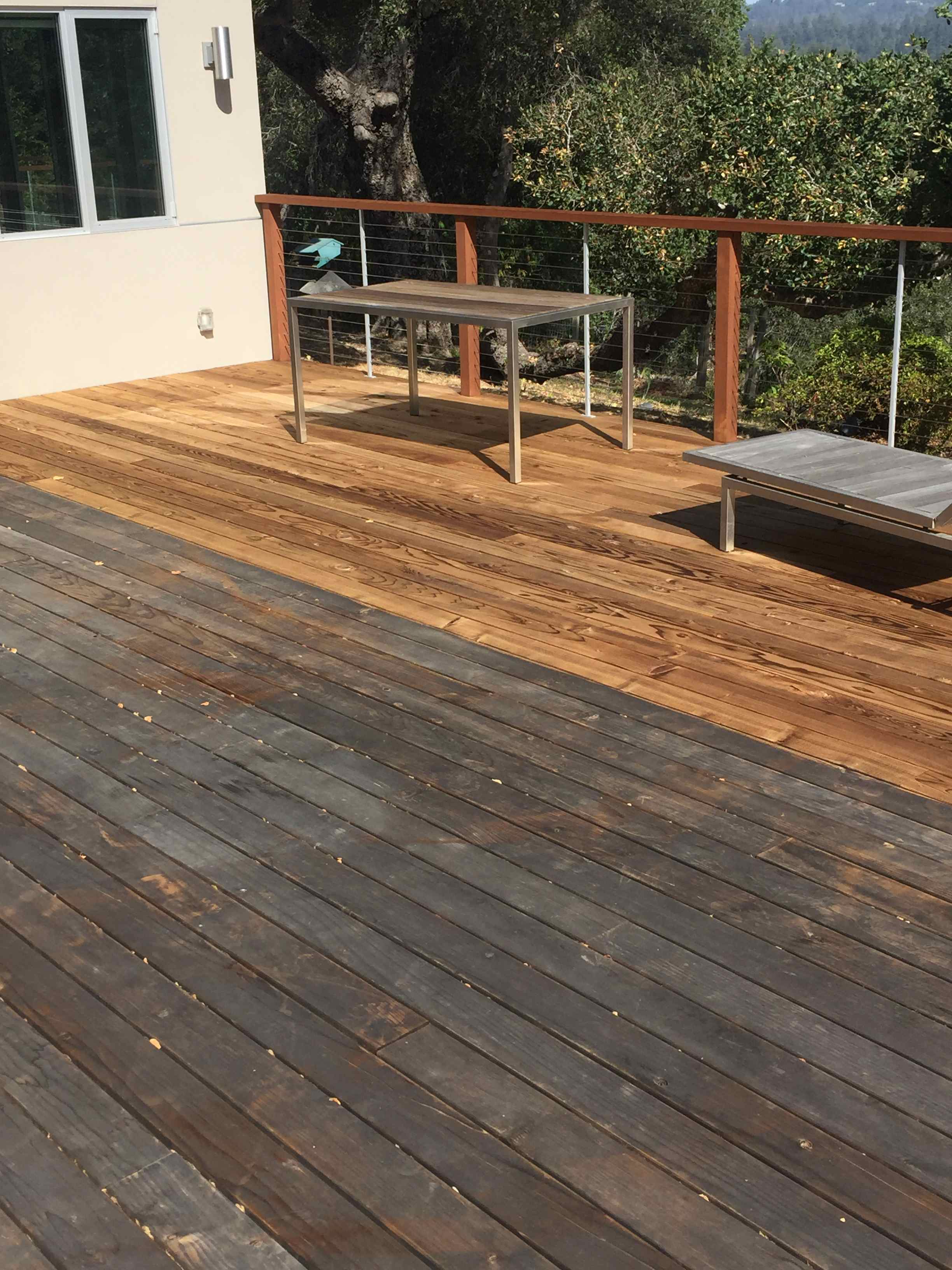 Naturally, The Deck Had Opened Up, And Oxidized Grey. Obviously It Cleaned  Up Very Nicely. The Clients Wanted A Dark, Richer Tone To Match The Modern  Look ...